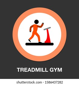 treadmill icon, fitness, exercise, gym icon - vector training machine