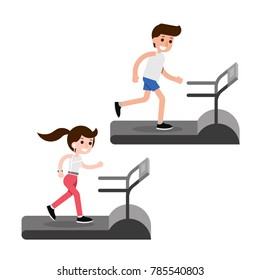 Treadmill running flat design cartoon, vector.