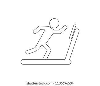 Treadmill running vector web icon isolated on white background, EPS 10,  top view