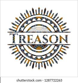 Treason arabesque style emblem. arabic decoration.