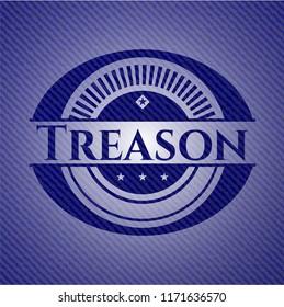 Treason badge with denim background