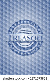 Treason blue emblem or badge with abstract geometric pattern background.