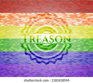Treason emblem on mosaic background with the colors of the LGBT flag
