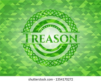 Treason green emblem with mosaic ecological style background