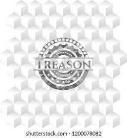 Treason grey badge with geometric cube white background