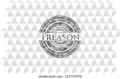 Treason grey emblem with cube white background