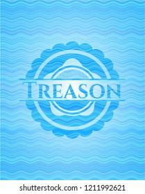 Treason sky blue water wave emblem background.