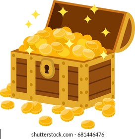 Treasure box full of gold coins