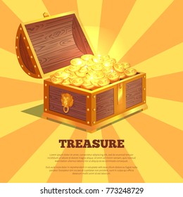 Treasure bright wooden box, vector illustration of chest with golden lion and rivets, lot of coins, isolated on orange and yellow striped background