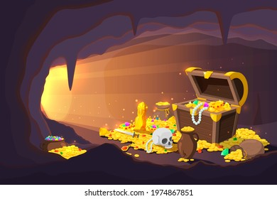 Treasure cave. Fantasy game location, cartoon mine with old gold coins in wooden chest. Ancient magical pirate cache recent vector illustration