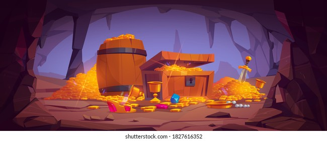 Treasure cave with golden coins in chest and wooden barrel, crystal gems, crown, sword in pile of gold and goblet with precious rocks, ancient fantasy magic tomb or mine, Cartoon vector illustration
