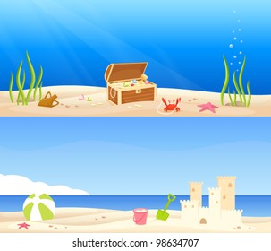 treasure chest at the bottom of the sea and beach scene with a sand castle and kids toys