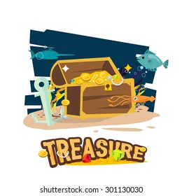 Treasure chest at the bottom of the sea - Vector illustration