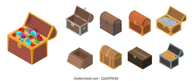 Treasure chest box icon set. Isometric set of treasure chest box vector icons for web design isolated on white background