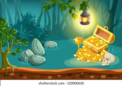 Treasure chest with cup golden coins and skull under lantern on fantasy landscape background vector illustration
