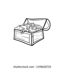 Treasure chest doodle icon vector