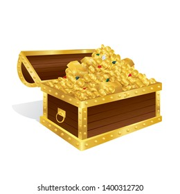 Treasure chest filled with gold coins, diamond and gemstone isolated on white background.