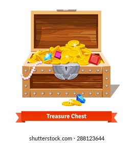 Treasure chest full of gold coins, crystal gems and jewellery. Flat vector illustration and icon.
