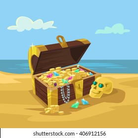 Treasure chest full of gold coins. Vector flat cartoon illustration