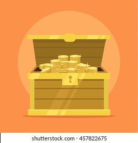 Treasure chest full of gold coins icon. Vector flat cartoon illustration