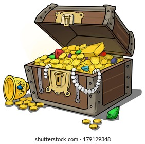 Treasure chest full of gold and jewels, vector illustration