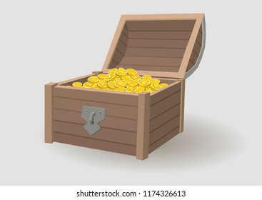 Treasure chest for game. Wooden chest on white background. Low Poly Vector illustration