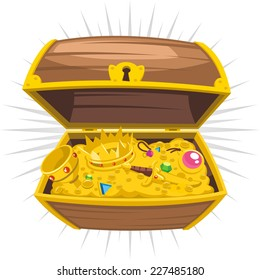 Treasure Chest Gold Wealth , vector illustration cartoon.