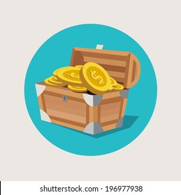 treasure chest with golden coins flat icon