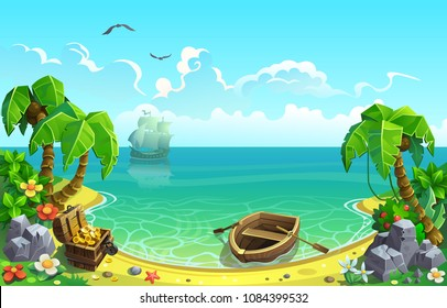 Treasure chest in the Gulf of the tropical island. Vector illustration.