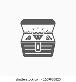 treasure chest icon, treasure box vector