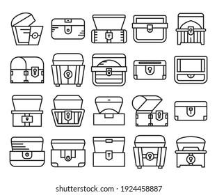 treasure chest icons set line style