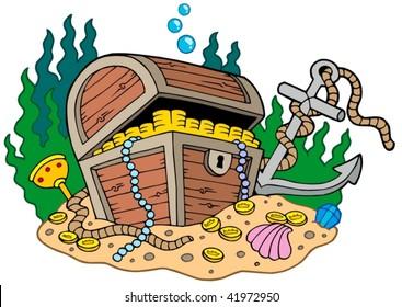 Treasure chest on sea bottom - vector illustration.