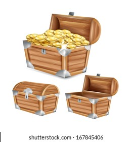 treasure chest; open, closed and with golden coins isolated on white