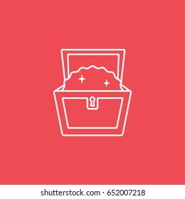Treasure Chest Open Line Icon On Red Background