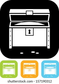 Treasure chest open Vector icon isolated