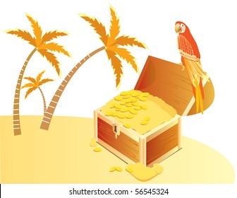 Treasure chest and  parrote on island