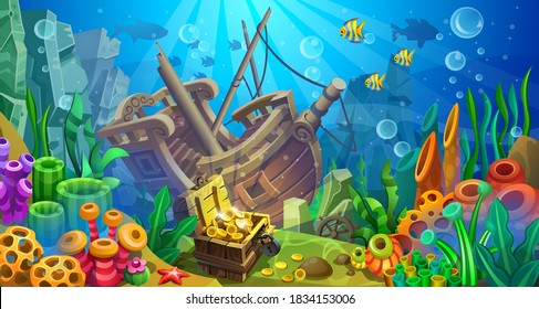 Treasure chest with a sunken wooden ship on a sandy bottom among seaweed, coral and fish. Underwater world.