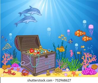 Treasure chest in underwater. Background