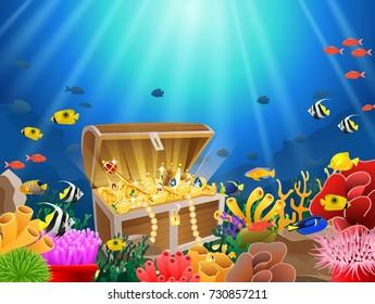 Treasure chest in underwater background. Vector illustration