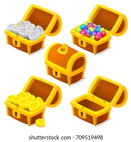 Treasure chests for game. Dower chests on white background. Locked and Empty dower chest. wooden chests with diamonds and gold . Vector illustration