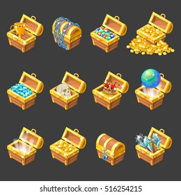 Treasure chests isometric cartoon set with golden coins jewelry medieval weapon on black background isolated vector illustration