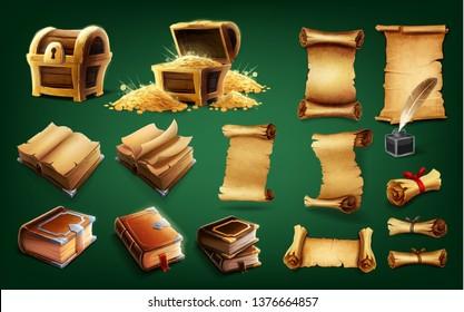 treasure gold scroll and book icon
