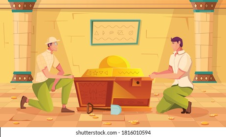 Treasure hunt background with ancient chest and artwork symbols flat vector illustration