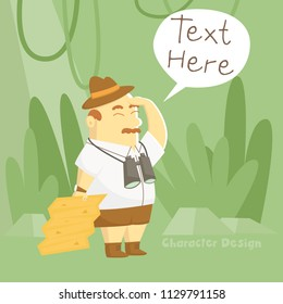 Treasure hunter cartoon character design is hunting the hidden locale from treasure map in his hand - Vector illustration.