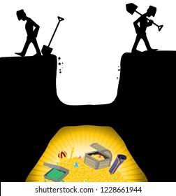 Treasure hunters give up digging too early cartoon, vector, horizontal