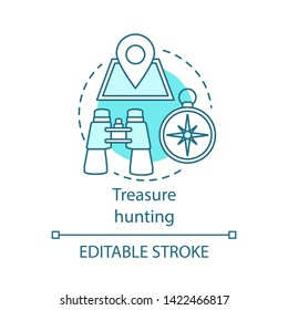 Treasure hunting concept icon. Family time together idea thin line illustration. Searching for retrieve artifacts. Physical search for treasure. Vector isolated outline drawing. Editable stroke