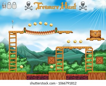 A Treasure Hunting Game Pirate Theme illustration