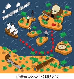 Treasure island isometric composition with sailing ship pirates trunk with golden coins compass handgun vector illustration