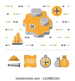 Treasure island map, odyssey concept, deserted island, adventure quest, compass and money sack vector icons, pirate ship, flat illustration