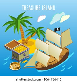 Treasure island with palm trees, pirate sail boat, chest of gold,  isometric game background vector illustration
